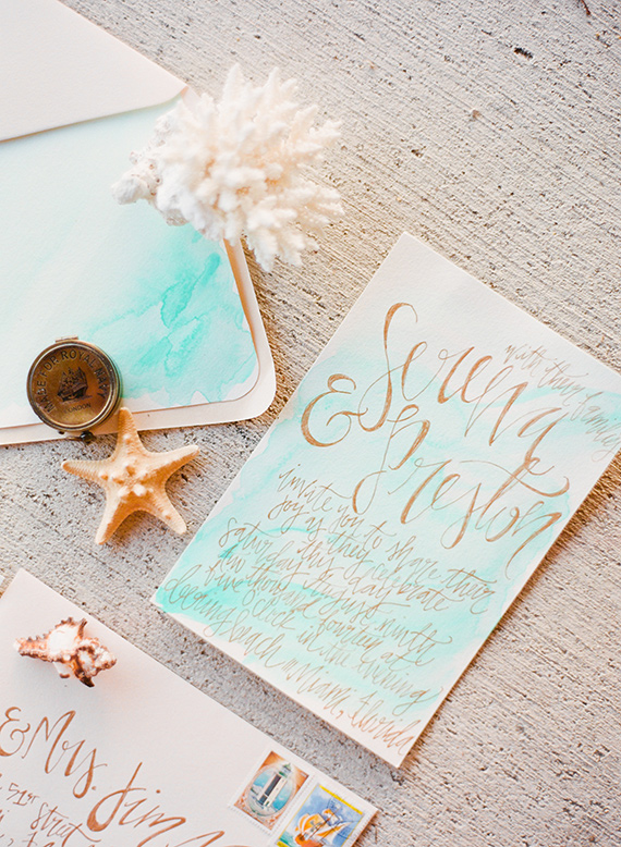 sea-inspired wedding invitations